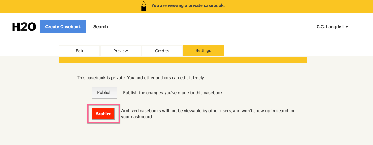 "screenshot of casebook ""Settings"" tab highlighting archive button"