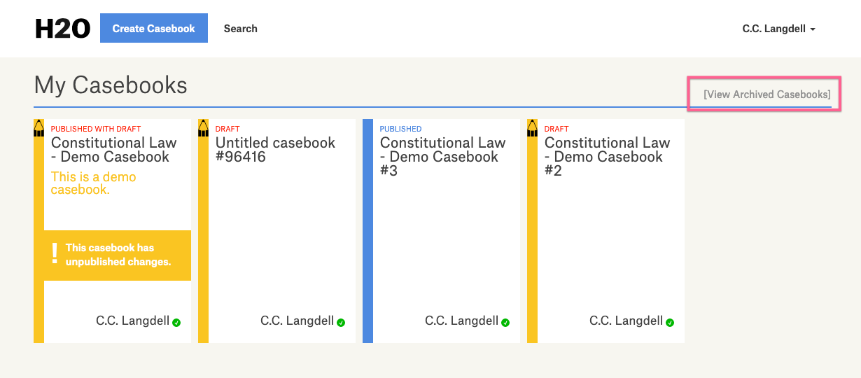 screenshot of dashboard highlighting the View Archived Casebooks link