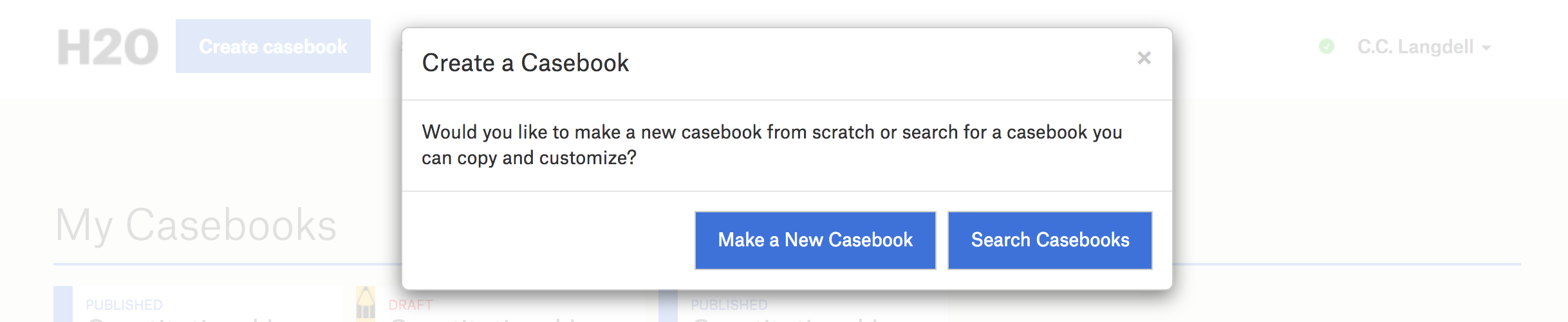 A screenshot of the Create Casebook modal, which offers two options for making a casebook.