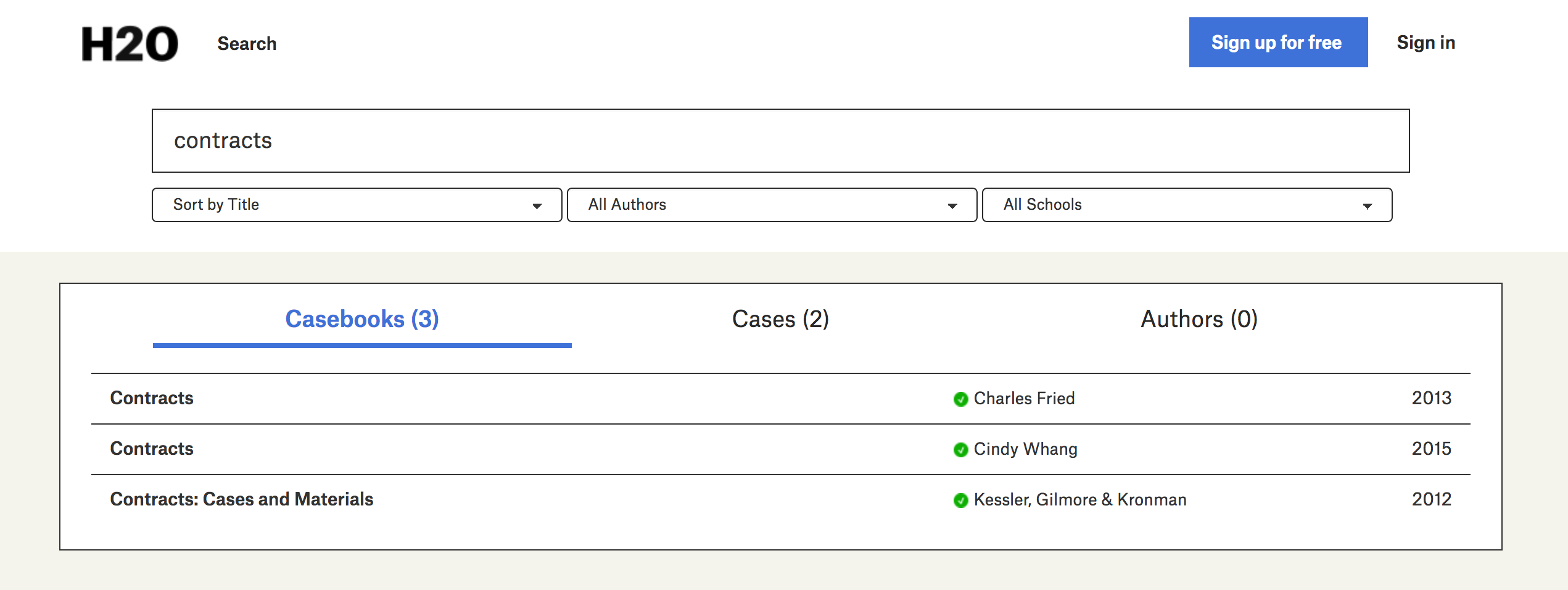 A screenshot of the search results page, showing casebooks authored by verified professors, each of which is designated by a green check mark.